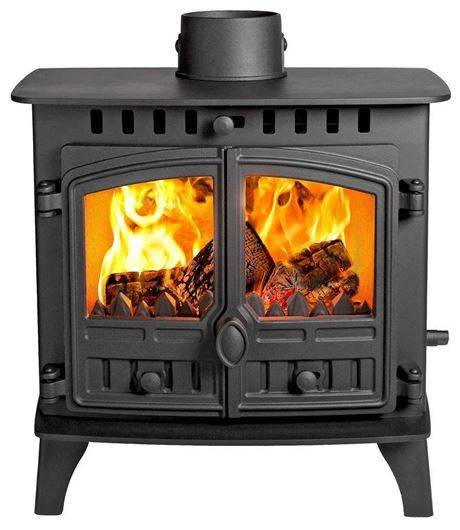 """Hunter Herald 5 Slimline - There's something elementary about making a fire, no wonder the roaring flames become so hypnotic. The Herald 5 Slimline is designed for those shallower fireplaces, and with a 5"""" flue for ease of installation our designers have thought of everything. Choose your finish, your doors, or add an optional canopy; the Herald 5 can be as traditional or as simple as you like. The Herald 5 Slimline incorporates our Cleanburn technology and a hot airwash to keep the glass clean and clear. Now it's all yours to customise for your home."""