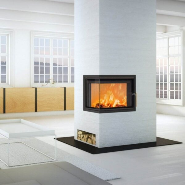 Scan 5003 - This new series of contemporary inserts offers a subtle design, allowing the large view to the flames to dominate the room. Choose from traditional doors or guillotine, and between glass on one, two, or three sides. Light burn plates in chamotte provide a light look and an airy feel.
