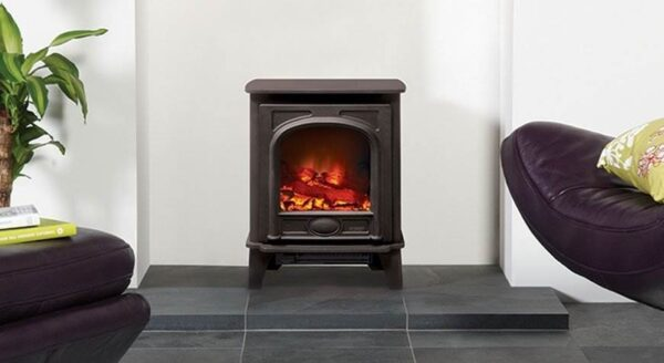 Gazco Stockton Electric - With a stunning cast iron door and heavy gauge steel body, the Stockton Electric combines the classic looks of a wood burning stove with the ease and convenience of Gazco's unique VeriFlame™ technology. This means you can enjoy two heat settings that can be thermostatically* controlled, three flame intensity levels, plus the additional option for a blue flame effect when set to high. Creating a remarkably authentic log effect fire, the Stockton Electric creates a superb focal point in any room.