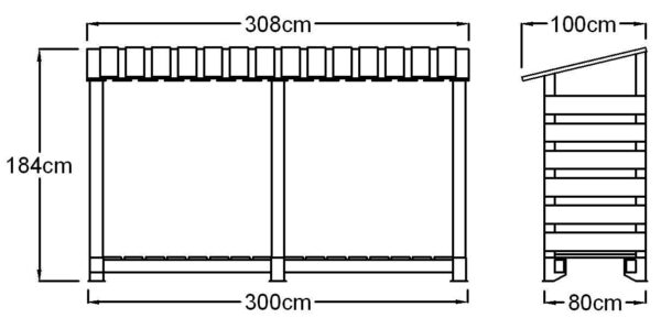 """300 Log Store - Double Depth - The largest of our log store range. The 300 Store will hold approximately 4 cubic metre of 14"""" Logs.<strong>Dimensions:</strong> Width: 308cm, Height:184cm, Depth: 100cm.    All of our logstores are made to order with a lead-time of 1-2 weeks."""