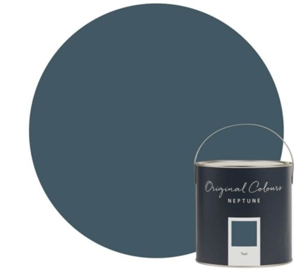 Neptune Teal Paint - Teal was inspired by autumn skies and stormy seas. It's one of those colours that changes depending on what you put with it – wood will make it warmer, while grey or white will cool it down. Try pairing it with Snow to create a statement or perhaps Shell which has a soft grey undertone.
