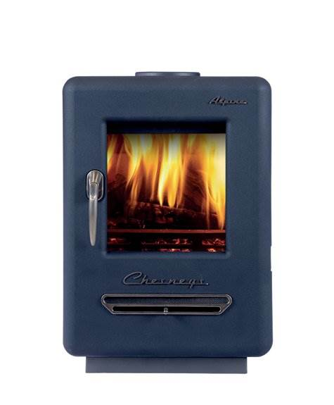 Chesney's Alpine 4 Woodburning Stove - The Alpine stove with its imaginative retro styling is quite unique. Nickel plated ornamentation and rounded lines combine to create a stove that is visually stunning. <hr /> *Model shown in blue which is an additional cost over black.