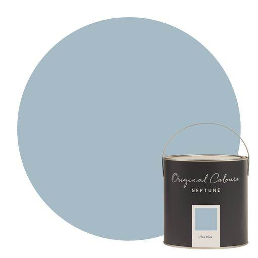 Neptune Flax Blue Paint - The colour of flax flowers (the plant that linen comes from) inspired our seasonal shade for spring and summer 2019. Taking their hazy blue tone, we've added grey to make this paint shade more muted, give it more depth, and make it even easier for you to use at home. Pair it withSalt: the clean and crisp to Flax Blue's soft and subtle.