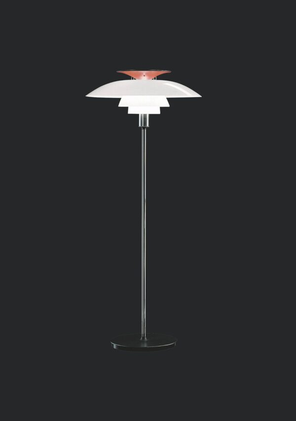 PH 80 Floor - The fixture emits diffuse and symmetrical light. The majority of the light is directed downwards, and the opal acrylic shades provide comfortable room lighting. The red hue of the top reflector helps giving the light a warmer glow.