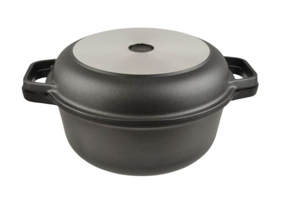 AGA Cast Aluminium Round Casserole with Skillet Lid - Italian made AGA Cast Aluminium cookware range featuring Teflon Platinum plus coating, a superior scratch resistant coating with a 5 year guarantee on the cookware as well as the coating. This PTFE non-stick coating allows you to fry, grill, bake and roast a healthy meal with little or no fat and cleaning is easy with just a short soak in hot, soapy water lifting off the most burnt on food.