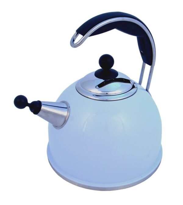 AGA Stainless Steel Whistling Kettle - Duck Egg Blue - The Aga Stainless Steel Whistling Kettle features an improved shape and wide base for efficient boiling. Available in cream, black, and polished stainless steel, they include an insulated easy grip handle and an encapsulated base for excellent heat transfer.