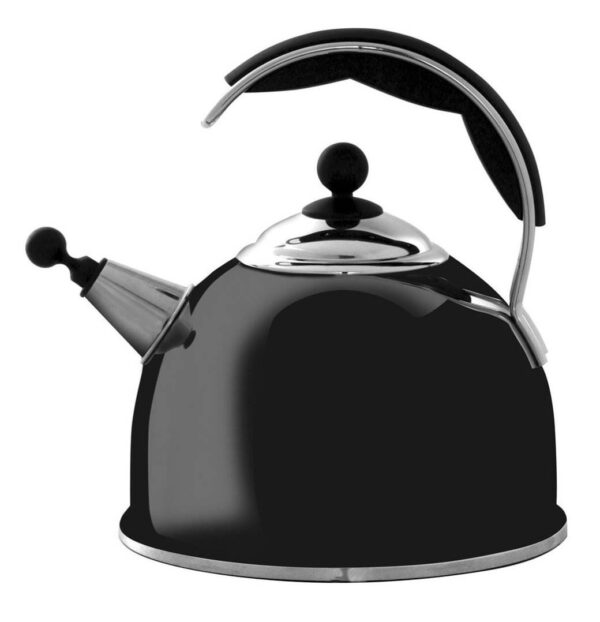 AGA Stainless Steel Whistling Kettle - Gloss Black - The Aga Stainless Steel Whistling Kettle features an improved shape and wide base for efficient boiling. Available in cream, black, and polished stainless steel, they include an insulated easy grip handle and an encapsulated base for excellent heat transfer. Capacity 2.5ltr 10 year guarantee.