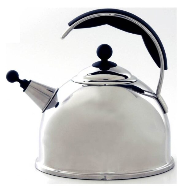 AGA Stainless Steel Whistling Kettle - Polished - The Aga Stainless Steel Whistling Kettle features an improved shape and wide base for efficient boiling. Available in cream, black, and polished stainless steel, they include an insulated easy grip handle and an encapsulated base for excellent heat transfer. Capacity 2.5ltr 10 year guarantee.
