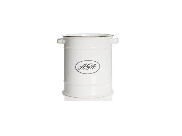 """AGA Utensil Jar - <span style=""""float: none; background-color: #ffffff; color: #3a3a3a; cursor: text; font-family: Georgia,'Times New Roman','Bitstream Charter',Times,serif; font-size: 100%; font-style: inherit; font-variant: normal; font-weight: inherit; letter-spacing: normal; text-align: left; text-decoration: none; text-indent: 0px; text-transform: none;"""">The vintage look of this delightful AGA utensil jar comes in a clean on trend white with distressed finish.</span> <span style=""""float: none; background-color: #ffffff; color: #3a3a3a; cursor: text; font-family: Georgia,'Times New Roman','Bitstream Charter',Times,serif; font-size: 100%; font-style: inherit; font-variant: normal; font-weight: inherit; letter-spacing: normal; text-align: left; text-decoration: none; text-indent: 0px; text-transform: none;"""">The utensil jar can be used for potted herbs, and is also a fabulous wine or champagne cooler.</span>"""