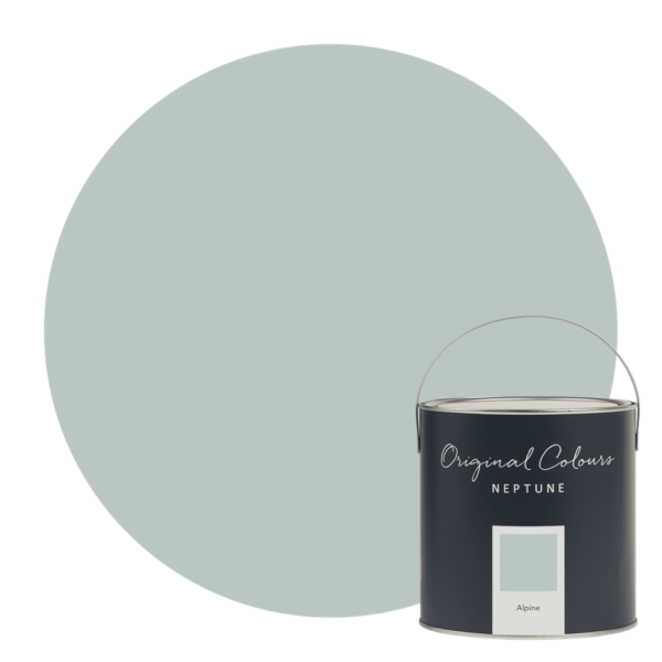 Neptune Alpine Paint - This is a slightly deeper version of our Powder Blue paint – it's still soft, but says 'blue' a bit more strongly. In certain lights you can pick up a touch of minted green. It'll create a cool mood, especially if you use it with white. Warm it up by pairing it with our warmer neutral colours like Silver Birch, Lily or Salt.