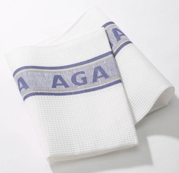 Blue AGA Tea Towels - Our timeless and traditional AGA Tea Towels are exclusively AGA branded and are made from superior glass cloth material with high absorbency.