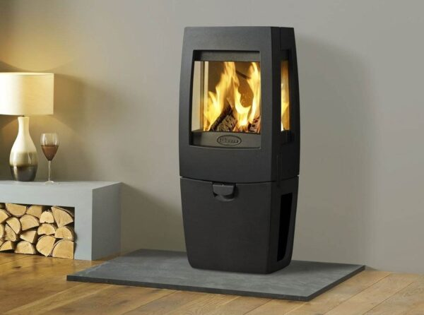 "Dovre Sense 203 - With a compact body and subtle curving details, the Sense 203 wood burner is a sensational new addition to the growing collection of Dovre's contemporary cast iron stoves. Mounted on an integral log box, this highly efficient wood burning stove also features stunning glass side panels to emphasise the exceptional swirling flames produced by Dovre's very latest <a href=""https://dovre.co.uk/labels/cleanburn/"">Cleanburn </a>system."