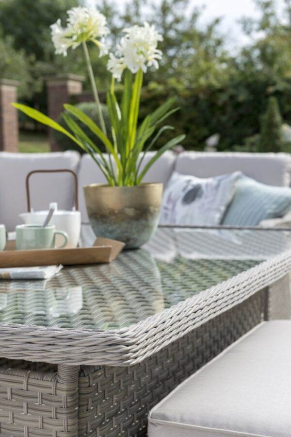 Charlbury Corner Set - The Charlbury collection is traditional wicker garden furniture with comfortable seating and glass top tables. Choose from a choice of 2 corner sets to make the most out of your space, a more formal dining set or lounge set. Lounge or dine with the versatile casual dining design tables. The Charlbury range is equally suitable for indoor or outdoor use.