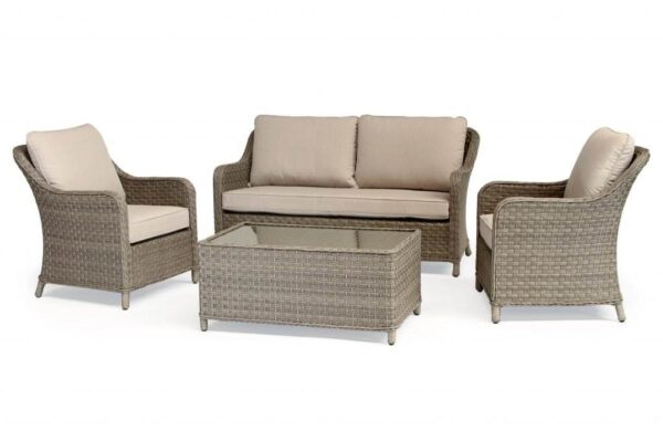 Charlbury Lounge Set - The Charlbury collection is traditional wicker garden furniture with comfortable seating and glass top tables. Choose from a choice of 2 corner sets to make the most out of your space, a more formal dining set or lounge set. Lounge or dine with the versatile casual dining design tables. The Charlbury range is equally suitable for indoor or outdoor use.