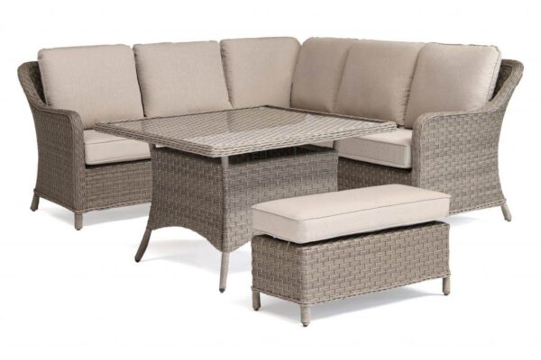 Charlbury Mini Corner Set - The Charlbury collection is traditional wicker garden furniture with comfortable seating and glass top tables. Choose from a choice of 2 corner sets to make the most out of your space, a more formal dining set or lounge set. Lounge or dine with the versatile casual dining design tables. The Charlbury range is equally suitable for indoor or outdoor use.