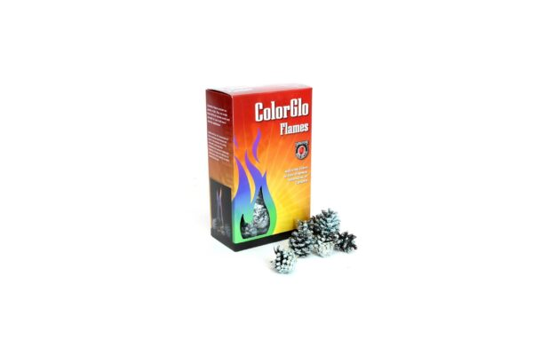 ColourGlo Firecones - ColorGlo Flames add a rainbow of colours to your fireplace, woodstove or campfire. 2-3 cones will burn for 10-12 minutes.  Each box contains at least 30 pieces.