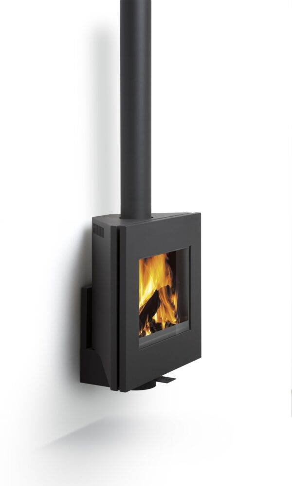 Harrie Leenders Dia - Dia is straightforward and minimalistic. Although attached to the wall, Dia is rotatable up to 45°. Dia heats up very quickly and only needs a small amount of wood to enfold into a nice fire, for that reason it is very suitable for smaller rooms.