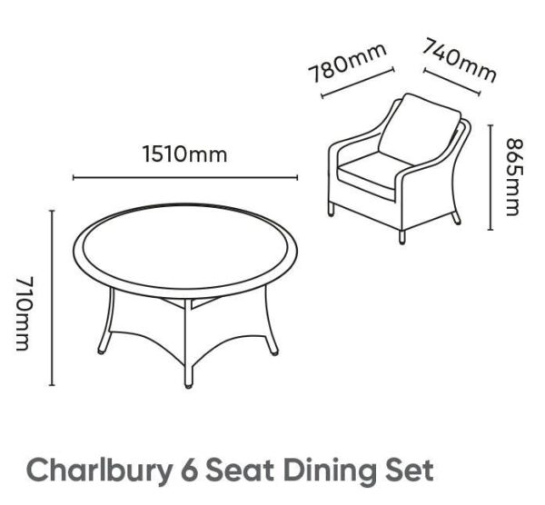 Charlbury 6 Seater Dining Set - The Charlbury collection is traditional wicker garden furniture with comfortable seating and glass top tables. Choose from a choice of 2 corner sets to make the most out of your space, a more formal dining set or lounge set. Lounge or dine with the versatile casual dining design tables. The Charlbury range is equally suitable for indoor or outdoor use.