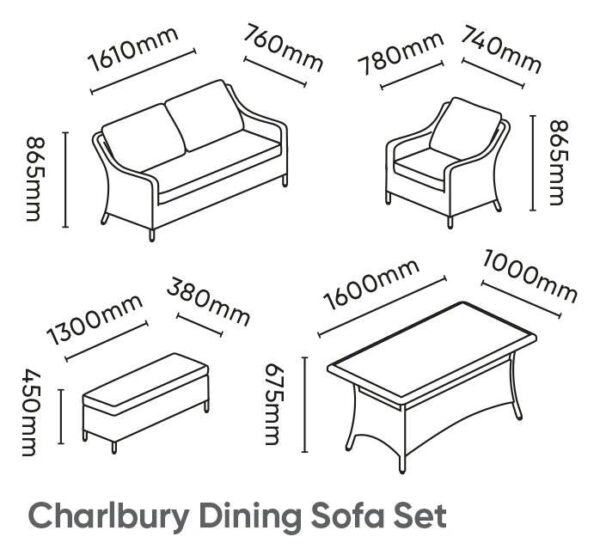 Charlbury Dining Sofa Set - The Charlbury collection is traditional wicker garden furniture with comfortable seating and glass top tables. Choose from a choice of 2 corner sets to make the most out of your space, a more formal dining set or lounge set. Lounge or dine with the versatile casual dining design tables. The Charlbury range is equally suitable for indoor or outdoor use.