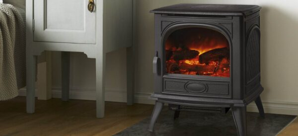 """Dovre 280 Electric - The Dovre 280 electric stove could be the answer if you do not have a chimney or want to locate a stove in a space where it could be difficult to install a flue. Once you have plugged in this electric stove to a normal 13amp socket, you simply use the remote control to turn it on or off, adjust the heat between the 1kW or 2kW settings and select from one of the three flame brightness levels that are created using our unique<a href=""""https://dovre.co.uk/labels/veriflame/"""">Veriflame™ technology</a>."""