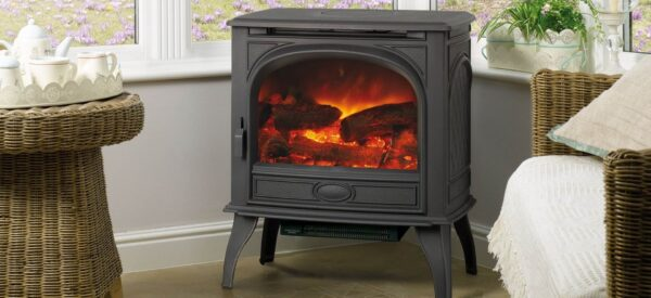 Dovre 425 Electric - The Dovre 425 traditional electric stove is made from cast iron and has a highly realistic, hand painted fuel bed and logs. This electric stove allows you to select from three different flame brightness levels including the additional blue flame effect on the high setting, to create the ideal fire for your mood.