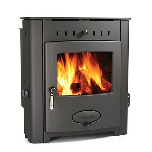 Arada Ecoboiler 12 HE Inset - British built inset single door multi fuel boiler stove with a 7 year guarantee. 11.6kW output to water, compatible with domestic central heating systems.