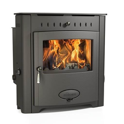 Arada Ecoboiler 16 HE Inset - British built inset single door multi fuel boiler stove with a 7 year guarantee. 16.1kW output to water, compatible with domestic central heating systems.