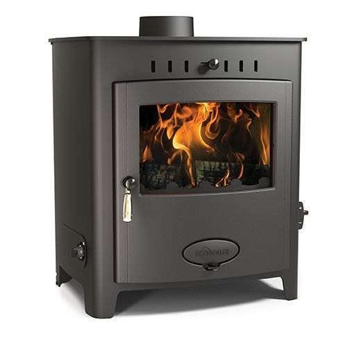 Arada Ecoboiler 20 HE - British built freestanding single door multi fuel boiler stove with a 7 year guarantee. Maximum output to water 18kW, compatible with domestic central heating systems