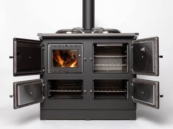 Esse 990 Hybrid - ESSE Hybrid: cosiness and convenience rolled into one beautiful range cooker. The best of both worlds: the convenience and control of electric power with the cosy glow of a real fire.