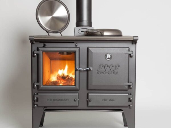Esse Ironheart Deluxe with Boiler - The Deluxe version includes a black enamelled top casting and stainless steel hotplate covers.