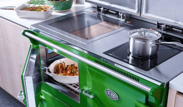 """Everhot 110i - TheEverhot 110ioffers a fascinating combination of classic cast iron hotplate cooking, whilst providing the latest in induction technology with its two zone hob – ideal to increase the overall hotplate space or to provide a useful facility during the summer months. This cooker also benefits from three full size controllable ovens.  Click<a href=""""https://www.topstak.co.uk/events/"""">here</a>for a list of upcoming cooking demonstrations"""