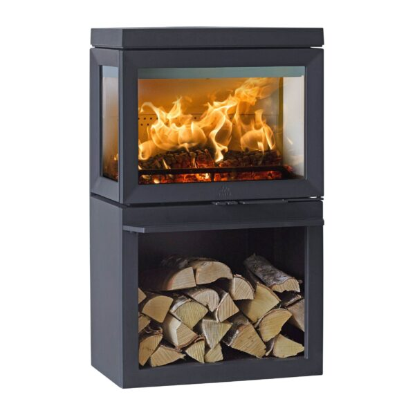 Jotul F520 - With panoramic view to the fire, J?tul F 520 offers the experience of a live campfire in your living room. This wood stove offers a wide expanse of glass, ?the flames can be fully enjoyed from three sides of the stove. With a special glass coating feature the glass stays clean. The smart construction of the air valves makes the stove easy to light and is user friendly.