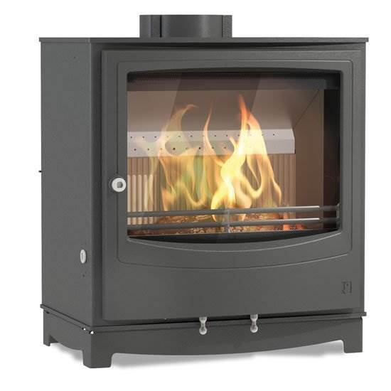 Arada Farringdon Large - Ecodesign Ready compact wood and solid fuel stove. Low emission. Superior fuel efficiency with long burn times. Large fire viewing glass. 10.6kW output.
