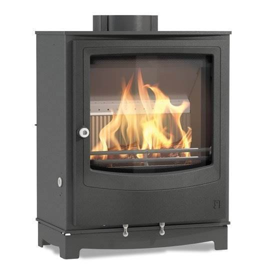 Arada Farringdon Medium - Ecodesign Ready compact wood and solid fuel stove. Low emission. Superior fuel efficiency with long burn times. Large fire viewing glass. 8.2kW output.