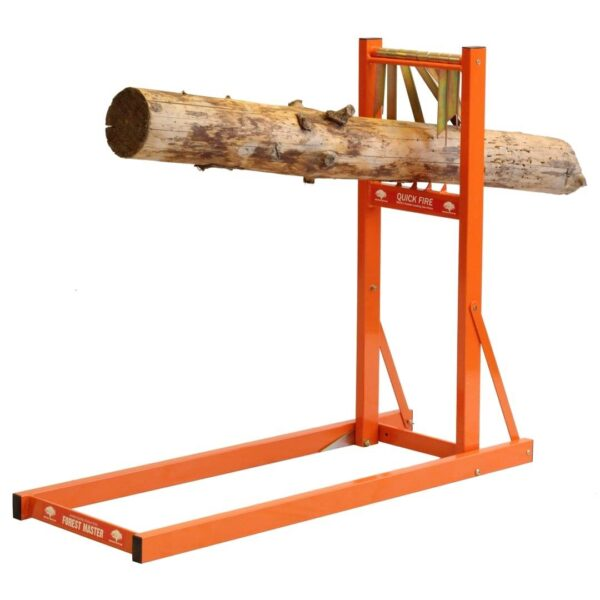 Saw Horse Log Holder - The Forest Master Quick Fire Saw Horse is an ideal way to hold the log firmer, safer and is quicker to use than any other saw horse on the market. To load the saw horse just simply push the end through the teeth, push down to secure and release. The teeth on the QSH automatically grip the log all round and make it secure for cutting with a chainsaw. The whole log can then be cut without needed to adjust or move it, allowing for a rapid cut. There are folding blades found on the base of the QSH which can be spiked into soft ground such as grass to make it more secure for when cutting the log. The QSH comes fully assembled in a flatpack so there is no need for assembly and it can be folded flat for easy storage and transportation. Can load up to 150kg in weight and up to 4 meters in length. <strong><u>Specification Sheet:</u></strong> Max Log Length - 4 Meter Max Log Weight - 150kg Log diameter - 50-250mm Height - 900mm Length - 1100mm Width - 380mm Weight - 11kg Warranty - 1 year