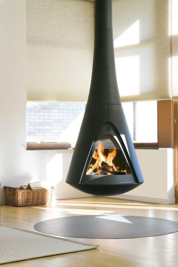 Harrie Leenders Pharos - Pharos Interior is a floating room sculpture. Fixed to the ceiling with a special construction. Made to measure. For a good view on the fire Pharos Interior is rotatable up to 360?. When placed in front of a wall 2?60? is possible