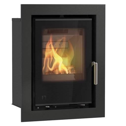 Arada i400 - British built cassette stove. DEFRA Exempt. Large glass door wood burning or solid fuel stove. Lifetime guarantee, maximum output of 4.9kW.