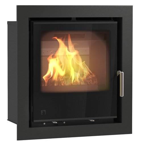 Arada i500 - British built modern DEFRA Exempt cassette stove. Single door multi fuel stove with large glass firebox window. Lifetime guarantee, 6.4kW output.