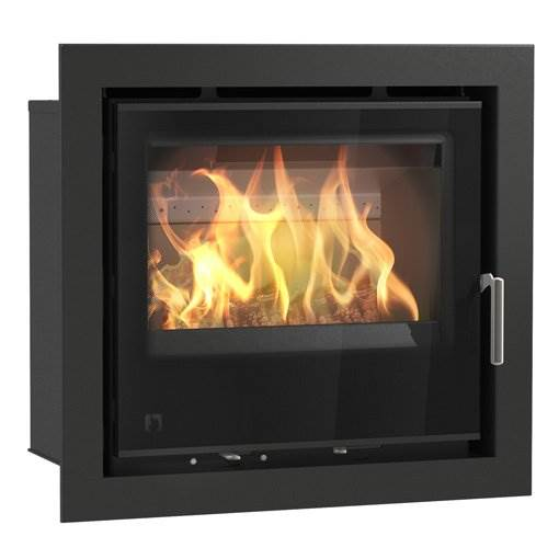 Arada i600 - British built modern DEFRA Exempt cassette stove. Single door multi fuel stove with large glass firebox window. Lifetime guarantee, 7.5kW output.