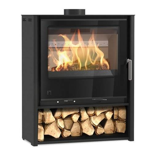 Arada i600 Slimline Freestanding Mid - Wood burning and multi fuel stove with integrated log store. Suitable for UK Smoke Control zones. Lifetime guarantee, max. output 4.9kW.