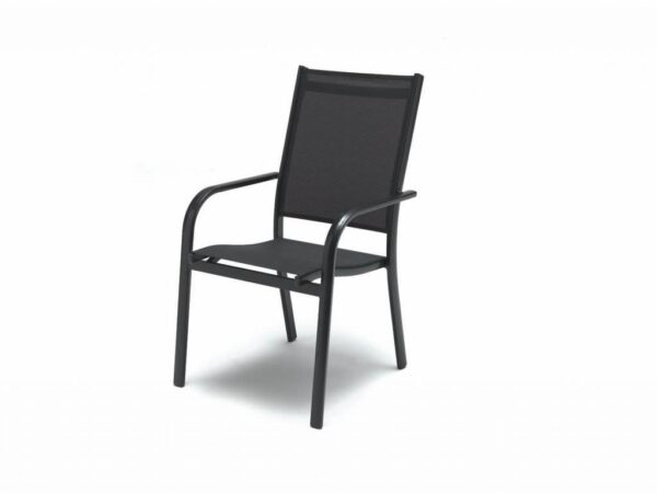 Kettler Stacking Chair - The Surf Collection by Kettler has a variety of seating and table options for dining to relaxing outdoors. Aluminum frames can stay in the garden all year round and they come backed up with our 3-year warranty. The textile sling seating is comfortable, moving to the contours of your body with no cushions required. Kettler Stacking Chair In Iron grey/grey aluminum.