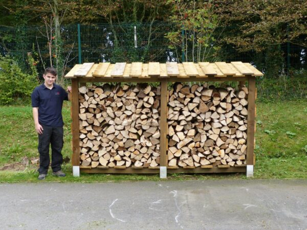 """LOG STORE - 300CM WIDE, DOUBLE DEPTH - The largest of our log store range.? The 300 Store will hold approximately 4 cubic metre of 14"""" Logs.?<strong>Dimensions:</strong> Width: 308cm, Height:184cm, Depth: 100cm.  All of our logstores are made to order with a lead-time of 1-2 weeks."""