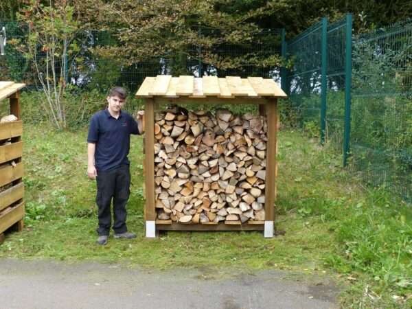 """LOG STORE - 160MM WIDE, DOUBLE DEPTH - This store will hold approximately 2 cubic metre of 14"""" Logs. <strong>Dimensions:</strong> Width: 160cm, Height:184cm, Depth: 100cm. All of our logstores are made to order with a lead-time of 1 week."""
