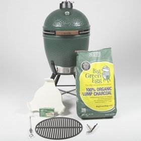 """Large Egg Bundle - <strong>What's Included:</strong>  Large Big Green Egg (pre-assembled)  Metal Nest Stand with Handler <a href=""""https://www.topstak.co.uk/product/plate-setter-conveggtor/"""" target=""""_blank"""" rel=""""noopener noreferrer"""">ConvEGGtor (out of stock)</a> Charcoal 4.5kg Internal Firebox, Fire Ring & Fire Grate Stainless Steel Cooking Grid Regulator Cap Tel-True Thermometer Dome Gauge  *Ash tool, grill gripper & firelighters not included."""