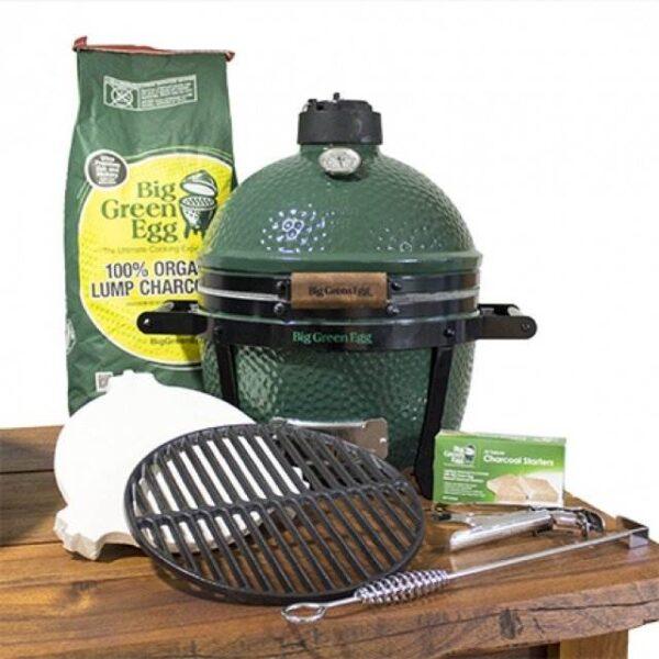 MiniMax Egg Bundle - What's Included: <ul>  <li>MiniMax Big Green Egg & Carrier or Foldable Stand (optional extra)</li>  <li>ConvEGGtor</li>  <li>Cast Iron Searing Grid</li>  <li>Internal Firebox, Fire Ring & Fire Grate</li>  <li>Stainless Steel Cooking Grid</li>  <li>Regulator Cap</li>  <li>Tel-True Thermometer Dome Gauge</li>  <li>Charcoal 4.5kg</li> </ul>