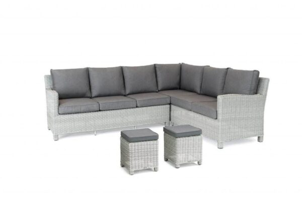 Palma Corner White Wash (Left Hand) - Whether you are looking for lounge or dining sets we have something in the Palma range to suit everyone.  This popular range of the Casual Dining concept to now include Palma Dining Sets and also lots more accessories. Wicker products are all hand woven onto a square tube aluminium frame which is extremely strong. The wicker is completely weatherproof, UV resistant and maintenance free, requiring nothing but an occasional wash. Available in a choice of two colours: rattan or white wash.  The Palma Corner is available in Left and Right Hand versions and can be mixed and matched with a choice of table designs to suit your requirements.