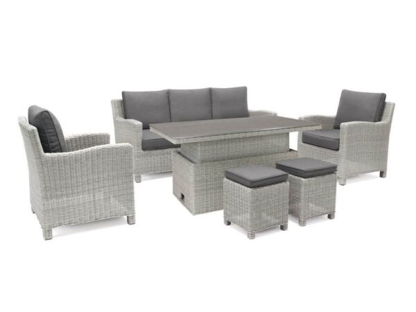 Palma Sofa Set (With SQ Table) - The Palma Sofa Set includes a three seater sofa, two armchairs and two stools and the Palma SQ Table. Dine with friends or lounge with a book and a drink, all on one comfortable set.
