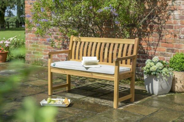 RHS 4ft (120cm) Bench Cushion Only - The luxurious RHS Chelsea range is made from natural eucalyptus wood with a hand coated teak oil finish. Traditional in style, the RHS Chelsea seating is made for garden lovers. Expect high-quality in every little detail. The tailored RHS Steamer Cushion includes high quality fibre that retains its shape over multiple sittings. Lay out in the sun in absolute comfort and relaxation on the beautiful, natural coloured cushion. The intricate RHS logo stitching gives the cushion an elegant look that makes the RHS range so appealing. The Royal Horticultural Society love to be outdoors, so our RHS garden furniture range is ideal for those who love their gardens. (Cushion Only)