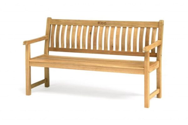 RHS 5ft (150cm) Bench - The luxurious RHS Chelsea range is made from natural eucalyptus wood with a hand coated teak oil finish. Traditional in style, the RHS Chelsea seating is made for garden lovers. Expect high-quality in every little detail.