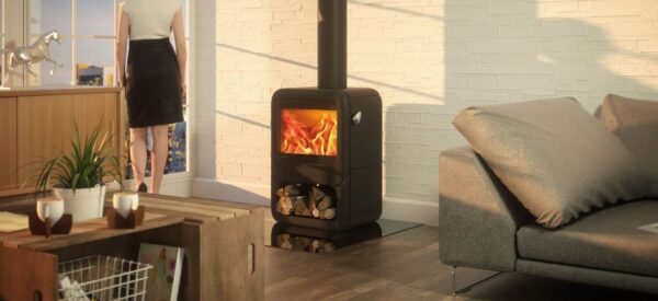 Dovre Rock 350 - The stylish Rock 350 wood burning stove features advanced combustion technology that produces a generous 7kW output at 80% efficiency. The stove's curved, cast iron sides can be complemented with various stand options including tablet or a matching integral wood store. Accenting the stove's Matt Black exterior, the polished stainless steel pebble handle provides easy door opening, and can also be detached to function as a cool-touch handle if desired.